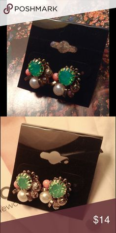 Green Studs These adorable studs feature green, gold and coral and pearl faux stones on a gold tone setting. ( This closet does not trade or use PayPal) Son Paises Jewelry Earrings