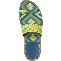 THEODORA & CALLUM Morocco Flat Sandal Sun Blue Linen ($69) ❤ liked on Polyvore