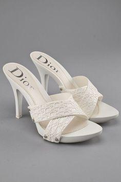 28fe906008ca Christian Dior White Signature Beach Mules Louis Vuitton Consignment