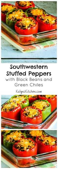These Southwestern Stuffed Peppers with Black Beans and Green Chiles make a delicious dinner. Be sure to PIN this for #BackToSchool dinner ideas. [from KalynsKitchen.com]  #GlutenFree #CanFreeze