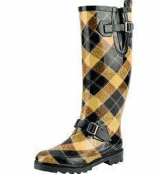 dfd6e36b1805 Natural Breeze Women s Rubber Rain Boots Brown Black   Beige Plaid Nb-may11  (6) Natural Breeze.  27.50