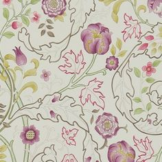 Mary Isobel Wallpaper A wonderful design from the Morris & Co collection in wine and linen. 'Mary isobel' shows scrolling acanthus leaves and flowers.