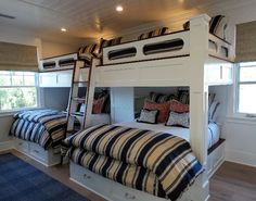 Bunkroom Bunk Beds. Bunk room custom bunk beds. Bunkroom twin and queen beds. The Bunkroom bunk beds sleep six. #BunkRoom #bunkBeds Flagg Coastal Homes
