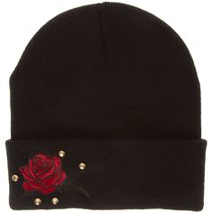 Black Rose Patch Beanie ($15) ❤ liked on Polyvore featuring accessories, hats, patch hat, beanie cap hat, beanie caps, rosebud hats and beanie hat
