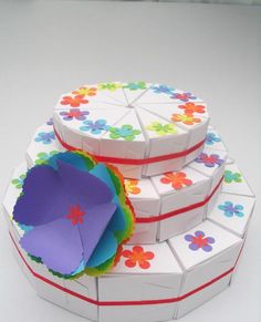36 handmade favor cake slice  boxes. These are white boxes with flower punches (or you can choose butterflies) in the co...