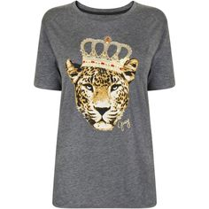 Juicy Couture Crowned Animal Graphic T Shirt found on Polyvore featuring tops, t-shirts, heather, animal print tops, juicy couture tee, animal graphic tees, animal print tees and oversized tee