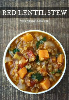 Hearty red lentil stew with sweet potato and smoked paprika (vegan, gluten-free)
