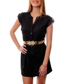 G2 Chic Women's Short Sleeve Button Up Dress with Matching Belt(DRS-CAS,BLK-M) $28.50