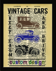 Beautiful and unique Custom vintage-look artwork featuring Vintage car with your favorite quote and antique background image. Let's create an awesome and unique wall hanging - for you or for someone s