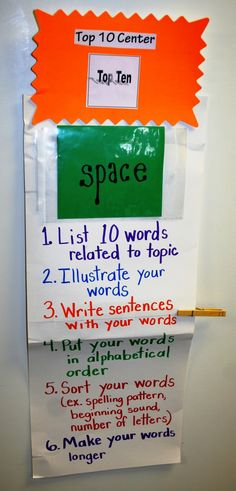 Word of the day.  1. List 10 words related to the topic: rocket, stars, moon, planets, solar system, astronauts, etc.  2. Illustrate your words: I think you get the picture :) I modified this to use with small groups in  Pre-k.  3. Write sentences using your words: Astronauts use a rocket to travel into space.  I like to look at the stars and see different constellations.