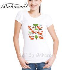 Babaseal Fashion Print Brand Fox T Shirt Women Vegan Womens Shirts Mermaid Graphic Tees Summer Casual Punk Top Women #Affiliate