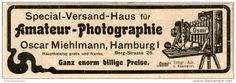 Original-Werbung/Inserat/ Anzeige 1902 - AMATEUR-PHOTOGRAPHIE / OSCAR MIEHLMANN HAMBURG ca. 180 x 50 mm