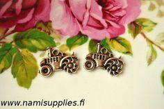 Tractor Charms, Tractor Pendants, Antique Silver Tractor Pendants 4pcs, Miniature Tractor Charms, Metal Tractor Pendants, Nickel free
