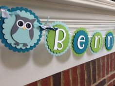 Owl Personalized NAME Banner BABY SHOWER or Birthday Blue & Green Boy