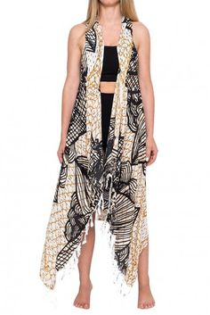 Long Maxi Open Weave Vertical Sheer//Semi Stripe Sleeveless Vest Cover-Up Top