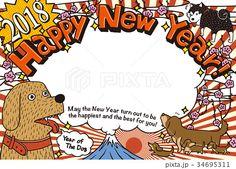 2018年 年賀状テンプレート「落書き犬フォトフレーム」 #2018年賀状 #年賀状テンプレート #戌年年賀状 #2018 #戌年 #年賀状 #テンプレート Graffiti, New Year Card, Chinese New Year, Dog Art, Happy New, Banner, Graphic Design, Poster, Handmade Cards