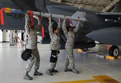 someone pinned my photo ^_^ Us Military Aircraft, Military Jets, Air Force Bases, Us Air Force, Aircraft Maintenance, Gas Turbine, Weapons, Fighter Jets, Aviation