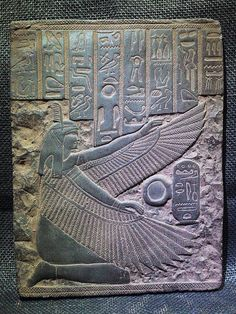 ANCIENT EGYPT EGYPTIAN ANTIQUE Winged Isis Goddess Stela Relief 1200–1085 BC