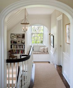 Window seat in the attic? A Window Seat For Your Cozy Home. I'd love a landing library and window seat. Traditional Staircase, Traditional House, Traditional Design, Traditional Decorating, Traditional Kitchens, Traditional Lighting, Traditional Interior, Traditional Bedroom, Upstairs Hallway