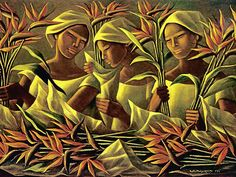 'Women with Birds of Paradise,' by Anita Magsaysay-Ho oil on canvas, 1982 Filipino Art, Filipino Culture, Philippine Art, Vintage Artwork, Realism Art, Abstract Oil, New Artists, Black Art, Figurative Art