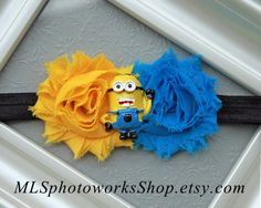 """Despicable Me """"Minion"""" Headband - Blue & Yellow with Minion Dave - Despicable Me Birthday Party Headband - Yellow Minion Birthday Hair Bow on Etsy, $6.50"""