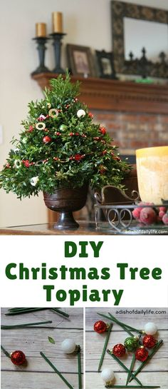 This festive DIY Christmas Tree Topiary is perfect as a hostess gift or for holiday decorating! Christmas Tree Topiary, Front Door Christmas Decorations, Tabletop Christmas Tree, Christmas Tree Crafts, Christmas Wreaths, Home Crafts, Diy Crafts, Crafty Craft, Christmas Inspiration