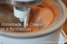 Homemade ice cream recipe in a kitchen-aid stand mixer ice cream attachment