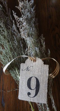 Love the shape of the tags Table Name Cards, Table Names, Number 9, Lucky Number, Burlap Table Numbers, Event Ideas, Party Ideas, Wild West Party, O Holy Night