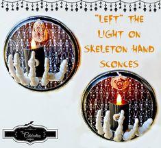 """Left"" The Light On Skeleton Hand Sconces - a little eerie Halloween light for indoors or outdoors! From littlemisscelebration.com"