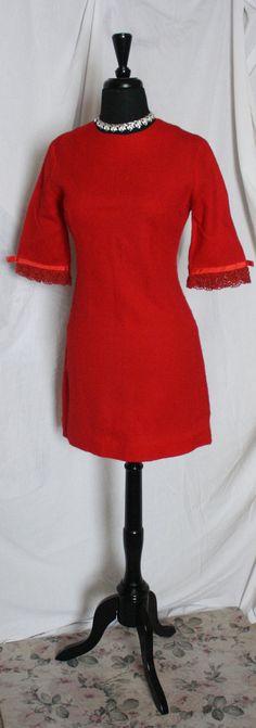 Vintage 1960s Red mod cocktail Mini dress  by VarietyVintagebyALD, $25.50