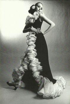 Maudie James modelling Yves Saint Laurent 1960s