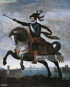 Equestrian portrait of Henry IV of Bourbon, known as the Great (Pau, 1553-Paris, 1610), King of France and Navarre, surrounded by nobles of his kingdom. Detail. Painting, 17th century.