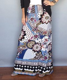 Take a look at this Blue Floral Maxi Skirt - Women on zulily today!