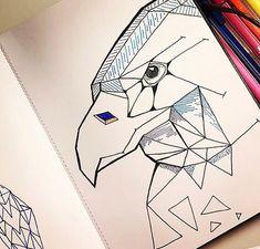 Geometric Bird on Behance Geometric Bird, Art Direction, Markers, Behance, Paintings, Ink, Lettering, Creative, Illustration