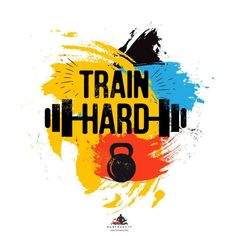Black kettlebell and barbell on colorful brush background with inspirational phrase - train hard. vector illustration for bodybuilding Study Motivation Quotes, Weight Loss Motivation, Gym Motivation, Inspirational Phrases, Motivational Quotes, Brush Background, Football Player Drawing, Gym Photos, Desi Quotes