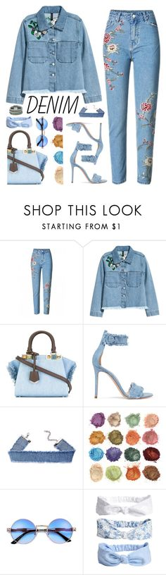 """""""Embroidered Jeans"""" by ponyfly ❤ liked on Polyvore featuring H&M, Fendi, Gianvito Rossi and Design Lab"""