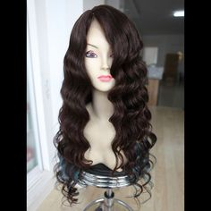 "Custom Full Lace European 1B/118 mixed/Turquoise Wavy Human Hair Wig 28"" w S.T #ValmurrWigsWeftsandMore #FullWig #All"