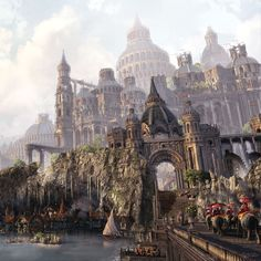 It's time for me to update my Artstation with my newest Art piece! This project was done by nights, and on a few week-ends. I initially started this project for a University Class, but I ended-up continuing this project even after the class was done. Fantasy City, Fantasy Castle, Fantasy Places, Fantasy Kunst, Medieval Fantasy, Sci Fi Fantasy, Fantasy World, Fantasy Artwork, Fantasy Concept Art