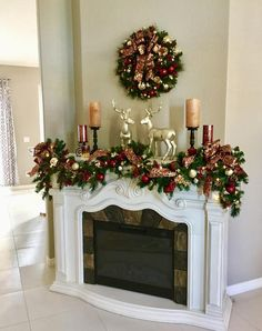 Christmas Home Decor Set of 2 Christmas Wreath and Garland Beautiful Burgundy and Christmas Mantels, Gold Christmas, Outdoor Christmas, Christmas Home, Christmas Wreaths, Christmas Fireplace Garland, Etsy Christmas, Christmas Villages, Victorian Christmas