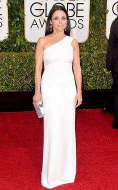 Fashion One Shoulder Celebrity Dresses 2017 Julia Louis Dreyfus Beading Party Gowns Golden Globe Awards Vestido de Festa Cheap