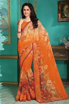 Orange Color Casual Wear Printed Saree