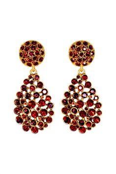 Oscar de la Renta Garnet Pave Bouquet Earrings. Gorgeous.