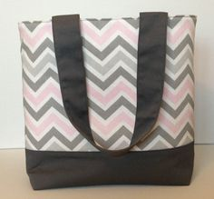 Baby Pink and Gray Chevron Tote by WrapItUpByG on Etsy, $32.00