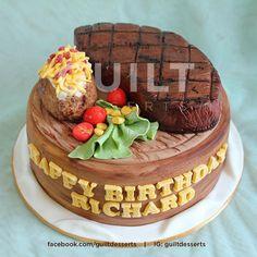 Steak Cake - Cake by guiltdesserts My Recipes, Cake Recipes, Cooking Recipes, Ohio State Cake, Cake Pictures, Cake Pics, Cupcake Cakes, Cupcakes, Food Cakes