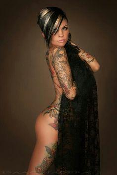 Gorgeous hair, love the tattoos too!