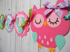 Buho feliz cumpleaños personalizado Banner fiesta en rosa Diy Party Needs, Baby Boy Shower, Boy Or Girl, Party Themes, Projects To Try, Birthdays, Owl, Banner, Alaia