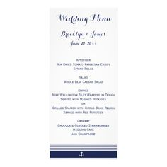 White Custom Nautical Wedding Menu Cards - click/tap to personalize and buy
