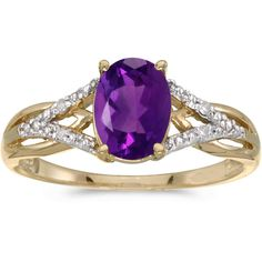 10k Yellow Gold Oval Amethyst And Diamond Ring (CM-RM2620-02) ($310) ❤ liked on Polyvore featuring jewelry, rings, purple, purple gold ring, purple ring, diamond jewelry, diamond rings and oval ring