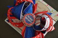Texas Rangers Bottle Cap Bow by threepeasboutique on Etsy, $9.00