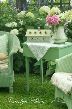 colors for wicker porch furniture were usually natural wood or natural brown tones. Nile green was popular as well, however this paint is lighter than the Nile green color. Wicker Porch Furniture, Garden Furniture, Outdoor Furniture Sets, Wicker Chairs, Outdoor Rooms, Outdoor Living, Outdoor Decor, Outdoor Ideas, Painted Wicker